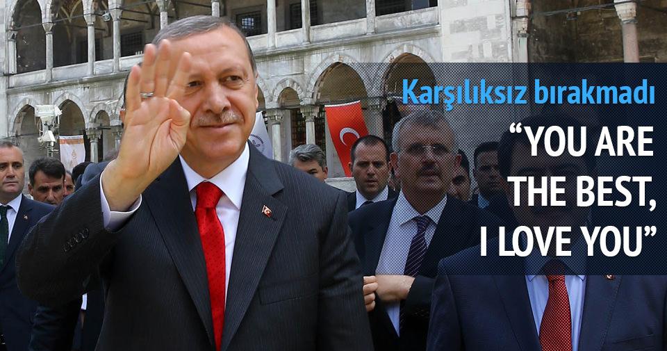 Cumhurbaşkanı Erdoğan'a tezahürat