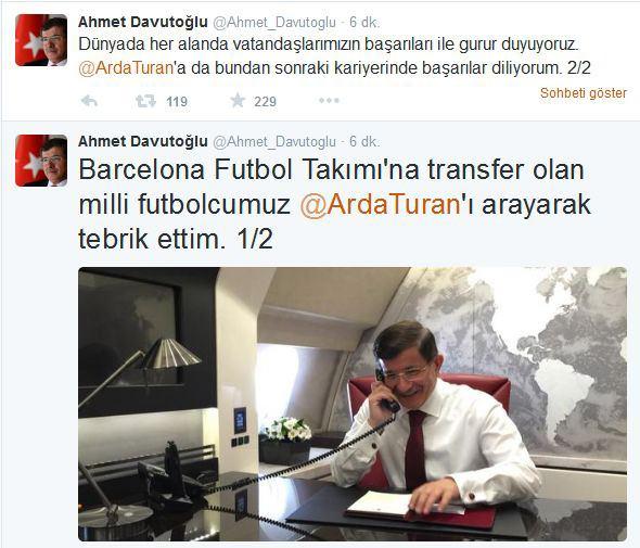 Başbakan Davutoğlu'ndan Arda Turan'a Tebrik Telefonu