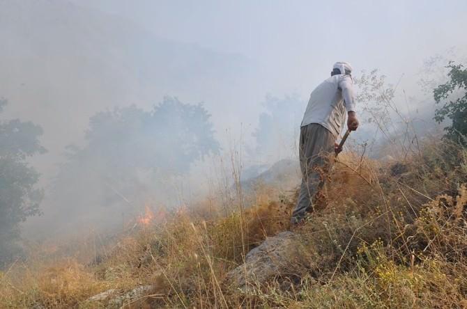 Anız Yangını Meyvelik Alana Zarar Vermeden Söndürüldü