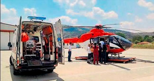 Hava ambulansıyla hayata uçtu