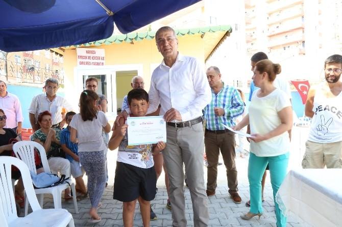 Mezitli'de Yüzme Kursunun İlk Etabı Sona Erdi