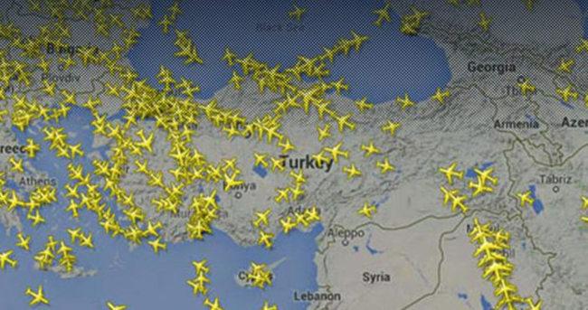 Türk hava sahasından 20 saniyede bir uçak geçti
