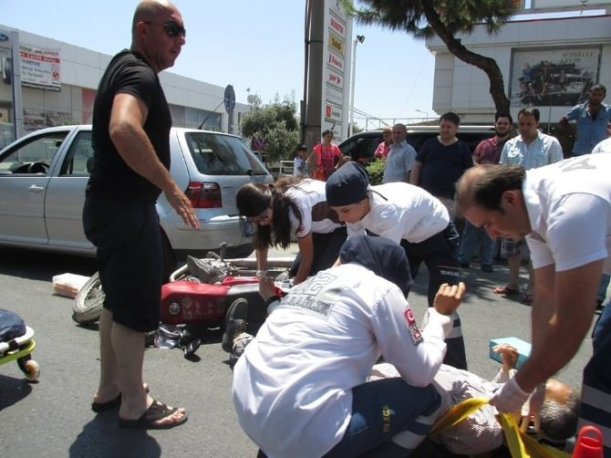Motosiklet Sürücüsü Hastaneye Kaldırıldı