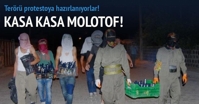 PKK'lılar kasalarla molotof taşıdı