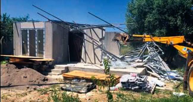 Pursaklar'da kaçak yapı operasyonu