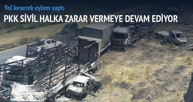 PKK'lılar 2 yerde 15 aracı yaktı
