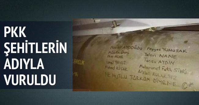 Hava harekatında kullanan füzelere şehitlerin isimleri yazıldı