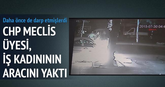 CHP'li meclis üyelerinin darp ettiği kadının aracı ateşe verildi
