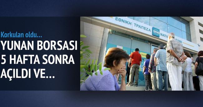 Yunanistan borsası çakıldı