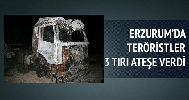 Erzurum'da teröristler 3 tırı ateşe verdi