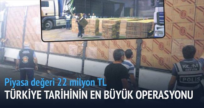 22 milyon TL'lik sigara yakalandı