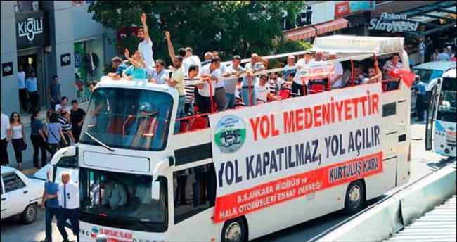 Halk otobüsçülerinden 'bulvar' eylemi