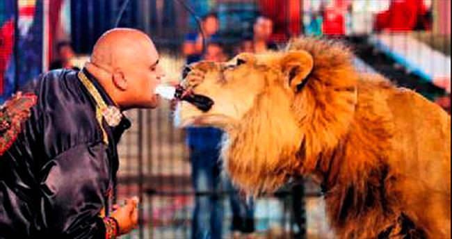 Aslanları ağzıyla besleyen adam