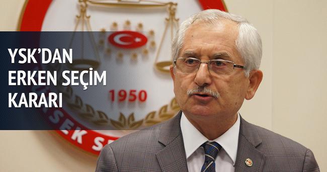 YSK'dan 'erken seçim' kararı