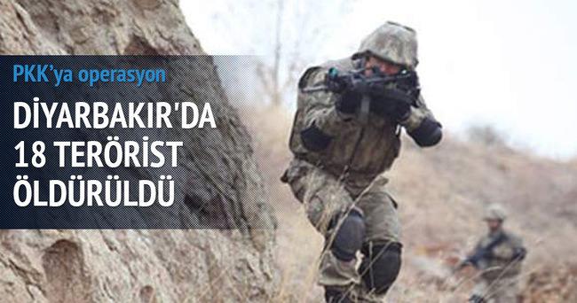 Diyarbakır'da 18 terörist öldürüldü