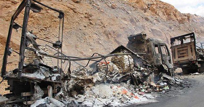 Bingöl'de yol kesen teröristler araç yaktı