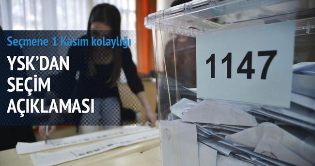 YSK'dan seçmene 1 Kasım kolaylığı