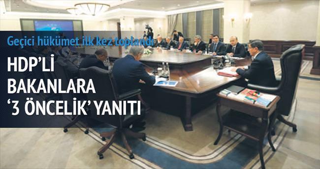 HDP'li bakanlara '3 öncelik' yanıtı