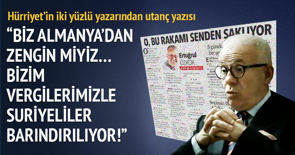 Hürriyet'in iki yüzlü yazarından utanç yazısı