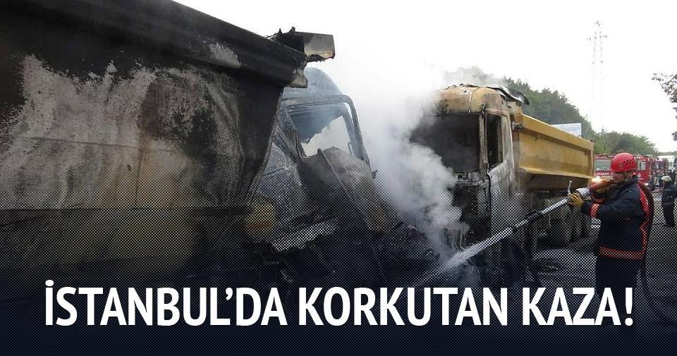 Beykoz'da çarpışan kamyonlar alev aldı