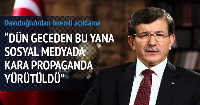 Başbakan Davutoğlu: Sosyal medya üzerinden kara propaganda yürütüldü