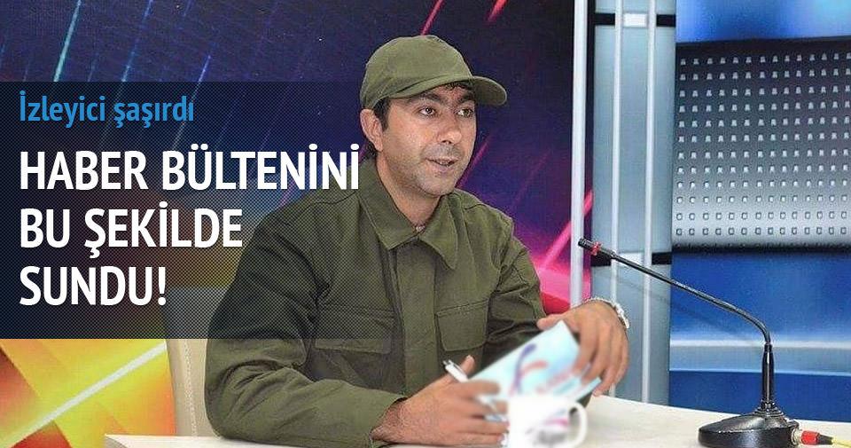 Haber bültenini asker kıyafetiyle sundu