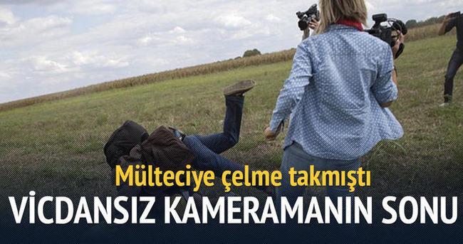 Mülteciye çelme takan kadın kameraman kovuldu