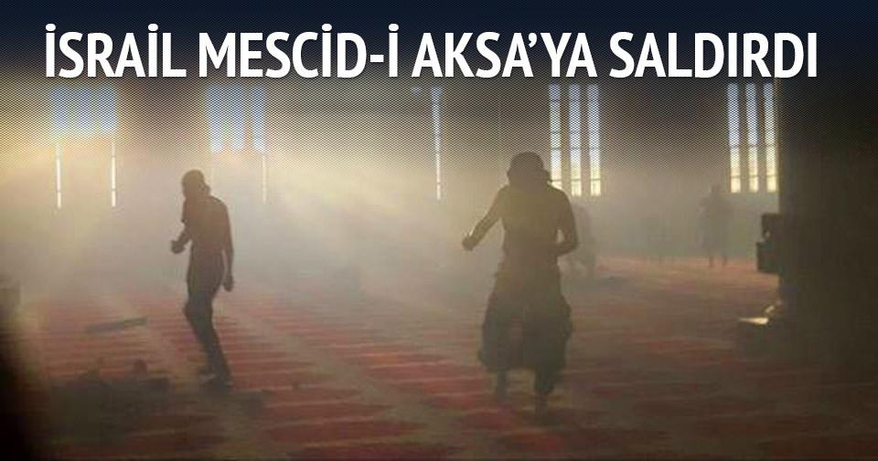 İsrail askerlerinden Mescid-i Aksa'ya baskın