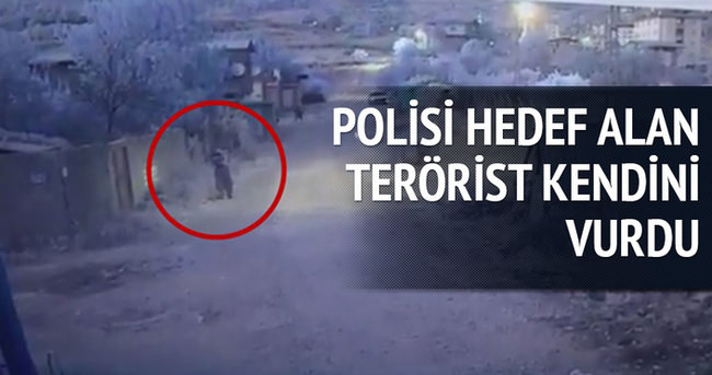 Polisi hedef alan terörist kendini vurdu