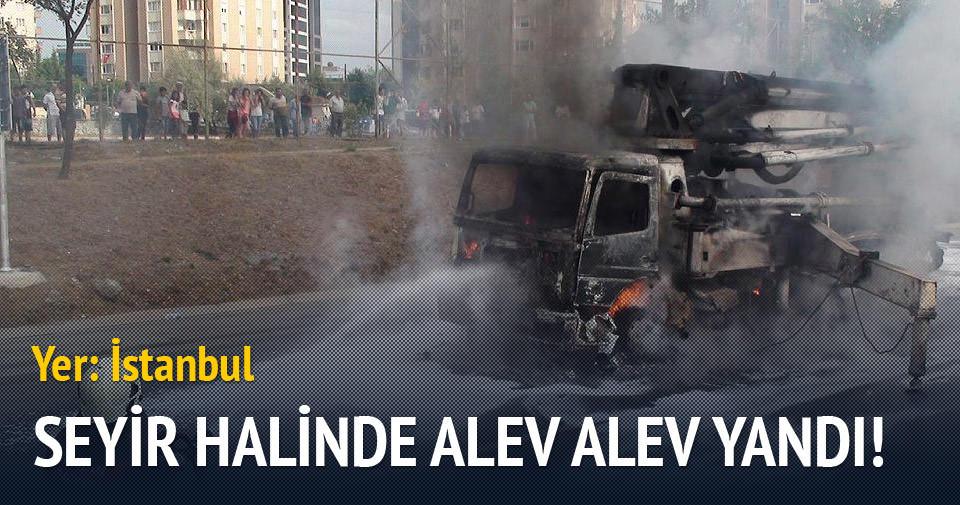 İstanbul trafiğinde alev alev yandı