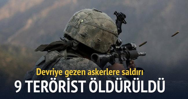 Devriye gezen askerlere saldırı: 9 terörist öldürüldü