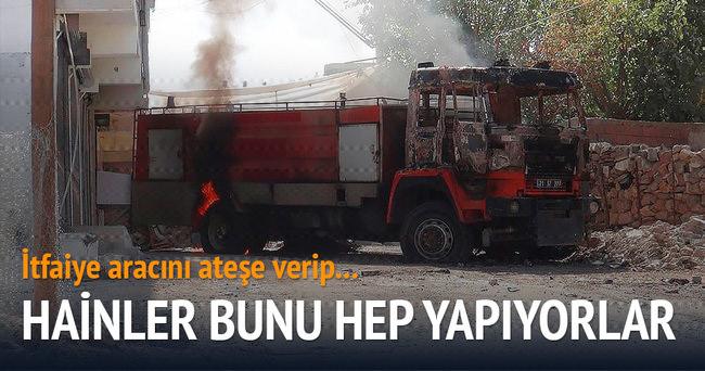 Silvan'da teröristler itfaiye aracını yaktı bomba tuzakladı