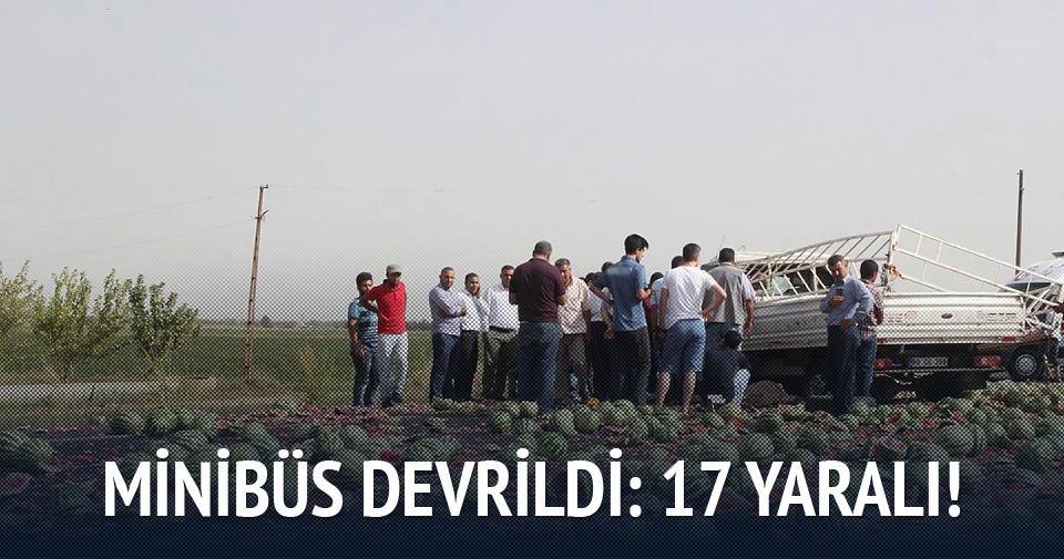 Minibüs devrildi: 17 yaralı