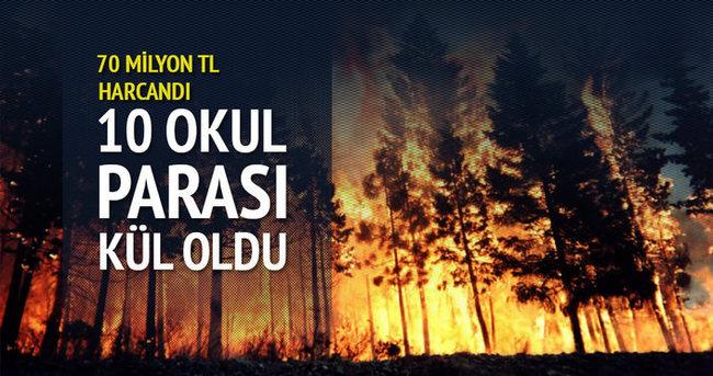 10 okulun parası yanan ormanlarla birlikte kül oldu