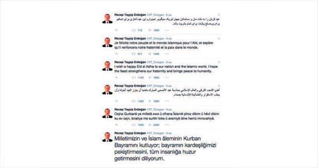 Erdoğan'dan 12 dilde bayram mesajı