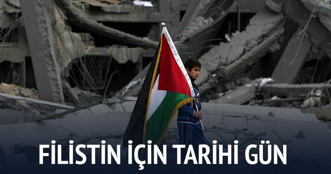 BM'ye Başbakan Davutoğlu'nun da katılacağı törenle Filistin bayrağı asılacak