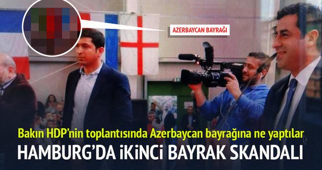 HDP Azerbaycan bayrağına da tahammül etmedi!