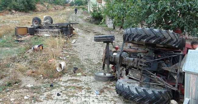 Traktör 50 metrelik uçuruma yuvarlandı