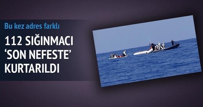 Sığınmacılar boğulmak üzereyken kurtarıldı