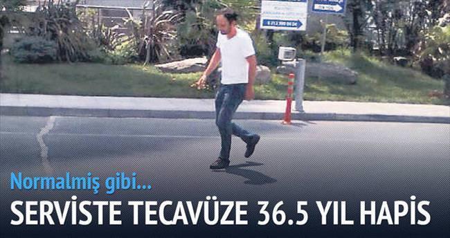Serviste tecavüze 36.5 yıl hapis