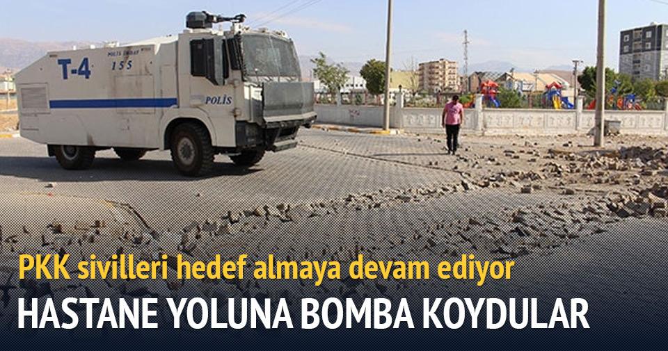 PKK'lı terörister, hastane yoluna bomba koydu