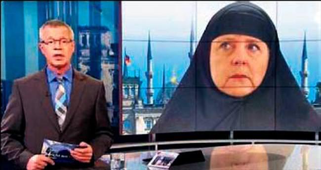 Angela Merkel'e çarşaf giydirdiler