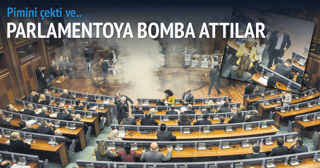 Muhalif vekillerden parlamentoya gaz bombası