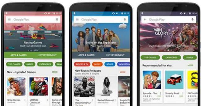 Google Play'in yeni hali
