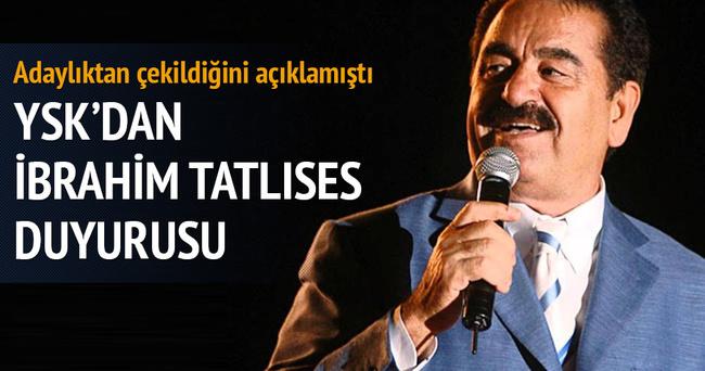 YSK'dan İbrahim Tatlıses duyurusu!
