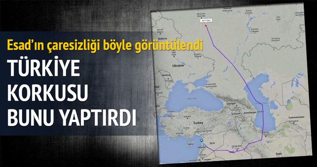 Esad'ın uçağı Türkiye'yi pas geçti