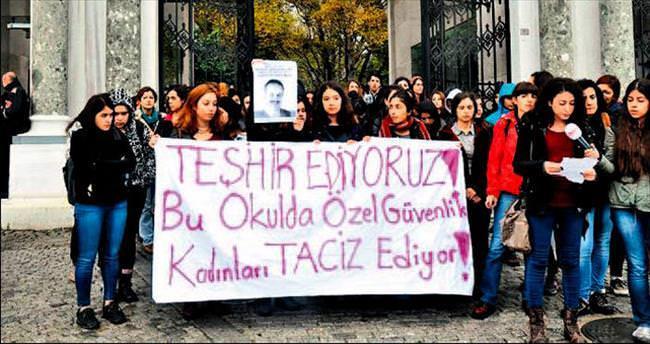 Üniversitede tacizci güvenlikçi protestosu