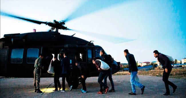 Helikopterle taşındı