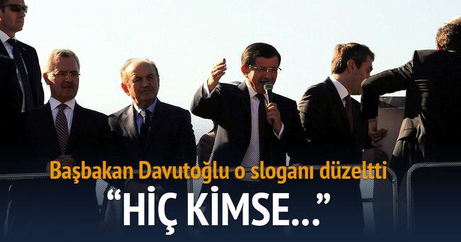 Davutoğlu o sloganı düzeltti