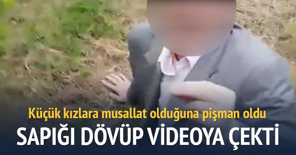 Tacizciye dayak atıp videoya çekti